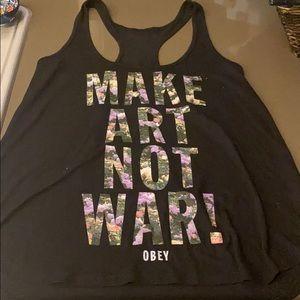 Obey black tank Make Art Not War - Size S